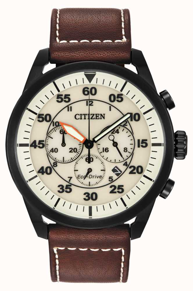 142cdb5941f Citizen Avion Eco-Drive Brown Leather Beige Dial CA4215-04W - First ...
