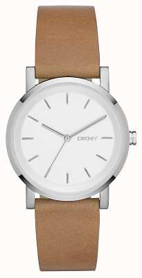 DKNY Womens SoHo Brown Leather Strap Silver Dial NY2339