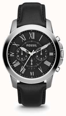 Fossil Mens Grant Black Leather Strap Black Dial FS4812