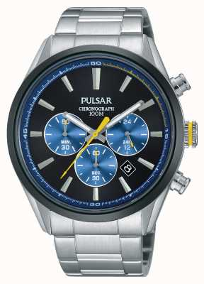 Pulsar Mens Chrono Stainless Steel Blue Dial PT3727X1