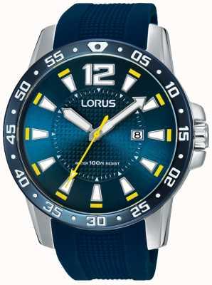 Lorus Mens Blue Rubber Strap Blue Dial RH935FX9