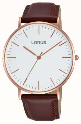 Lorus Mens Brown Leather Strap White Dial RH880BX9