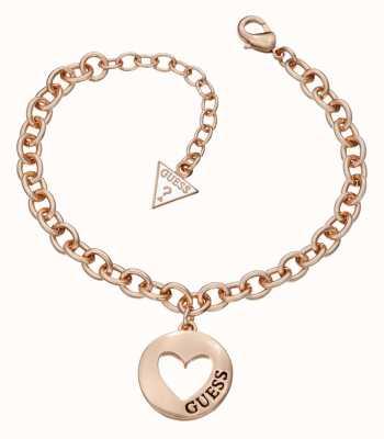 Guess Womens G Girl Heart Coin Bracelet Rose Gold UBB51436