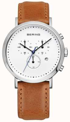 Bering Mens Brown Leather Strap White Dial Chrono 10540-504
