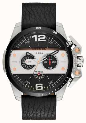 Diesel Mens Ironside Black Leather Strap Chronograph DZ4361