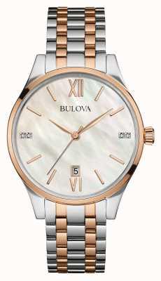 Bulova Ladies Two Tone, Rose Gold, Pearl, Diamond 98S150