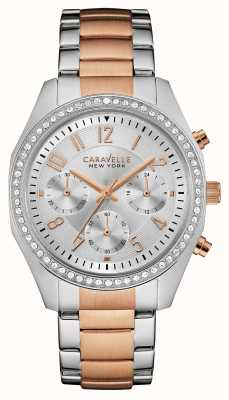 Caravelle New York Ladies Two Tone Chronograph Watch 45L148