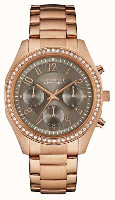 Caravelle New York Womens Rose Gold Crystal Chronograph 44L195