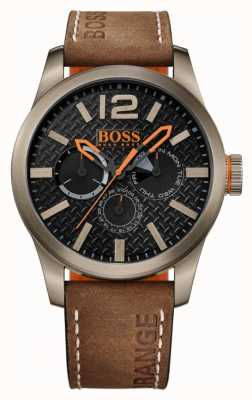 Hugo Boss Orange Mens Paris Brown Leather Strap Black Dial 1513240