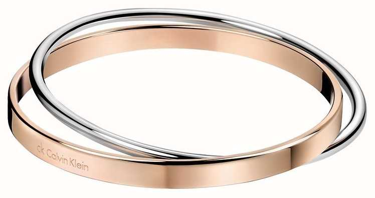Calvin Klein Ladies Rose Gold Silver Bangle KJ63BB01010S