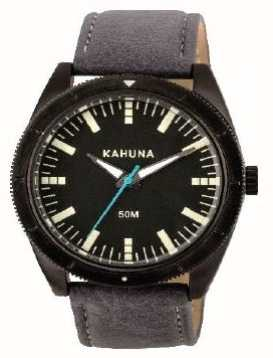 Kahuna Mens Black Leather Strap Black Dial KUS-0120G