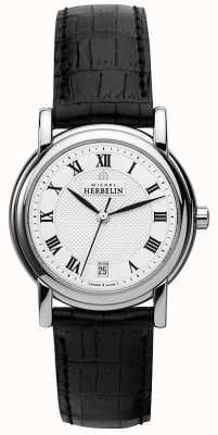 Michel Herbelin Womens Black Leather Strap White Dial 12432/08