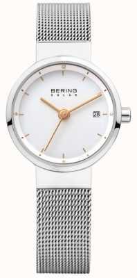 Bering Womens Solar Stainless Steel Mesh White Dial 14426-001