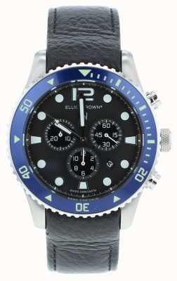 Elliot Brown Men's Bloxworth Custom Black Leather Blue Dial 929-003
