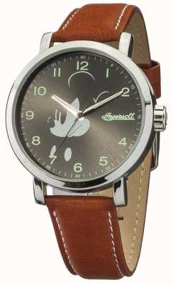Disney By Ingersoll Mens Classic Mickey Mouse Brown Leather Strap DIN007SLTN