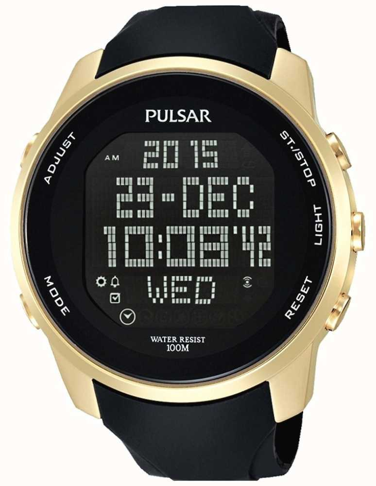 Pulsar Mens Digital Gold Plated Case Black Rubber Pq2048x1 First