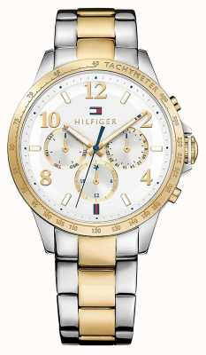 Tommy Hilfiger Womens Two Tone Strap Silver Dial 1781644