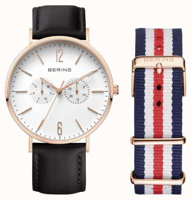 Bering Unisex Rose Gold Plated Case Leather Strap 14240-464