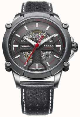FIYTA Mens Black Leather Strap Round Black Dial WGA866001.CBB