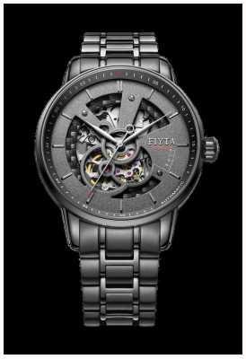 FIYTA Mens Black Stainless Steel Bracelet GA8486.BBB