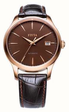 FIYTA Mens Brown Leather Strap Rose Gold Case WGA1010.PSR