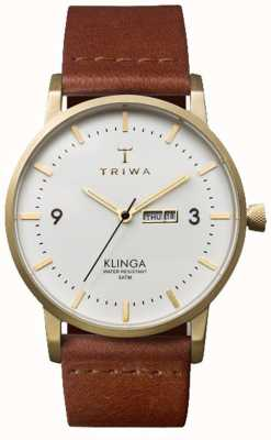 Triwa Unisex Klinga Brown Leather Strap White Dial KLST103-CL010213