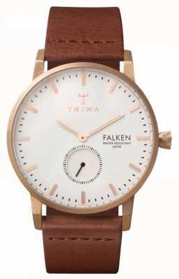 Triwa Unisex Falken Brown Leather Strap White Dial FAST101-CL010214