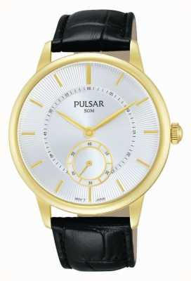 Pulsar Mens Black Leather Strap Silver Dial PN4042X1