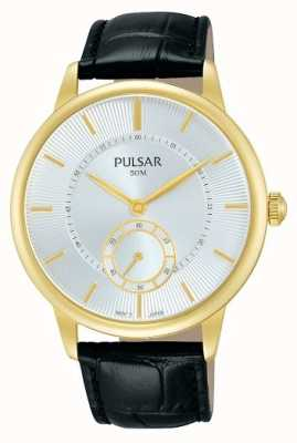 Pulsar Mens Black Leather Strap Silver Dial PN4042X1