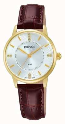 Pulsar Womens Silver Pattern Dial Brown Strap PH8182X1