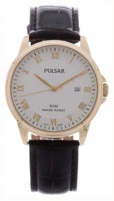 Pulsar Mens Brown Leather Strap Gold Plated Case PS9446X1