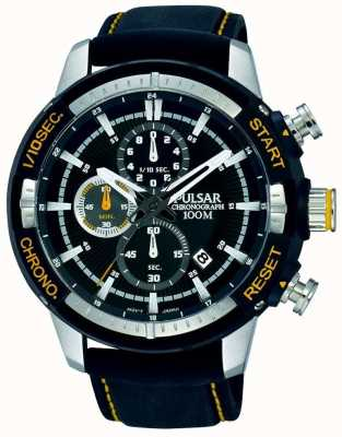 Pulsar Mens Black Silicon Strap Black Patterned Dial PM3053X1