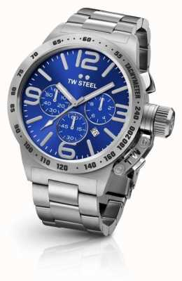 TW Steel Mens Canteen Silver Strap Blue Chronograph CB13