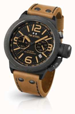 TW Steel Mens Canteen Black Dial Light Brown Leather CS43