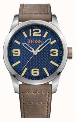 Hugo Boss Orange Mens Paris Brown Leather Strap Blue Dial 1513352