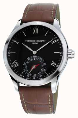 Frederique Constant Horological Smartwatch Black Dial Brown Leather Sapphire FC-285B5B6