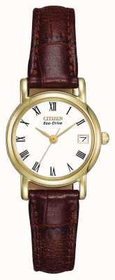 Citizen Womens White Dial Brown Leather Strap EW1272-01B
