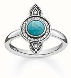 Thomas Sabo Ring Turquoise 925 Sterling Silver Blackened/ Simulated Turquoise/ Zirconia TR2090-646-17-54