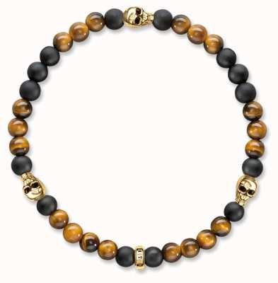 Thomas Sabo Bracelet 17cm Brown 925 Sterling Silver Gold Plated Yellow Gold/ Tiger'S Eye/ Obsidian A1507-881-2-L17