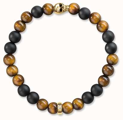 Thomas Sabo Bracelet 17cm Brown 925 Sterling Silver Gold Plated Yellow Gold/ Tiger'S Eye/ Obsidian A1509-881-2-L17