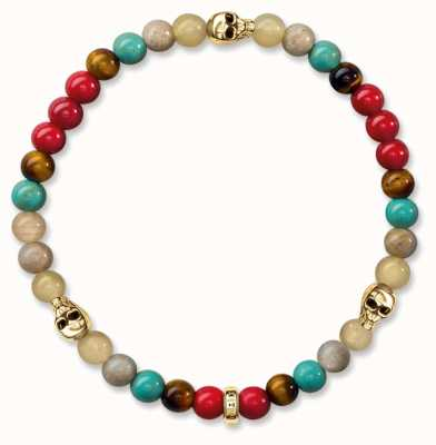 Thomas Sabo Bracelet 19cm Multicoloured 925 Sterling Silver Gold Plated Yellow Gold/ Tiger'S Eye/ Simulated Turquoise/ Jasper/ Agate/ Dyed B A1512-882-7-L19