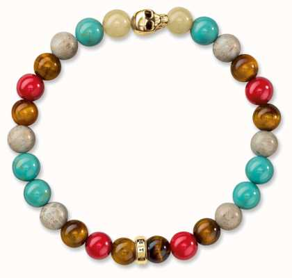 Thomas Sabo Bracelet 17cm Multicoloured 925 Sterling Silver Gold Plated Yellow Gold/ Tiger'S Eye/ Simulated Turquoise/ Jasper/ Agate/ Dyed B A1513-882-7-L17