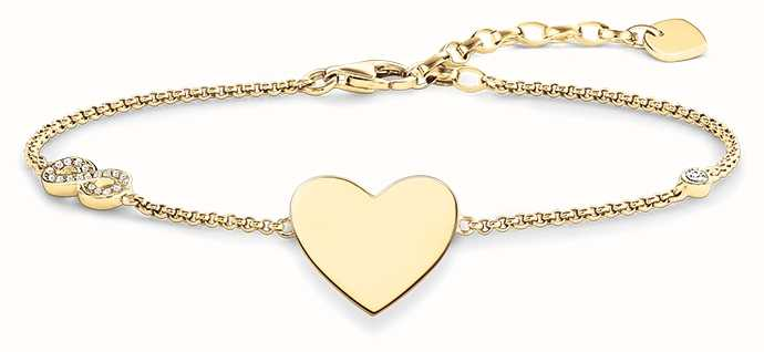 Thomas Sabo Bracelet 16.5-19.5cm White 925 Sterling Silver Gold Plated Yellow Gold/ Zirconia A1486-414-14-L19,5v