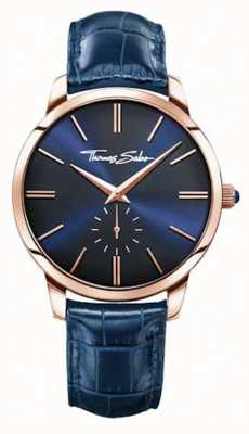 Thomas Sabo Mens Blue Leather Strap Blue Dial WA0212-270-209-42
