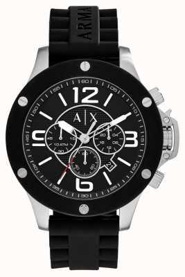 Armani Exchange Mens Urban Silicone Strap Chronograph Black Dial AX1522