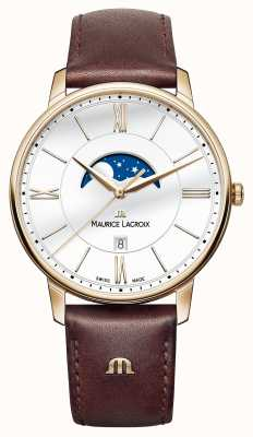 Maurice Lacroix Mens Eliros Moonphase Brown Leather Strap EL1108-PVP01-112-1