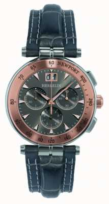 Michel Herbelin Mens Grey Leather Strap Grey Dial 36657/TR22GR