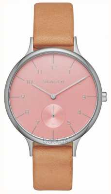 Skagen Womens Anita Brown Leather Strap Pink Dial SKW2406