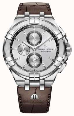 Maurice Lacroix Mens Aikon Chronograph Brown Leather Strap Silver Dial AI1018-SS001-130-1