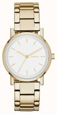DKNY Womans Round White Dial Gold Strap NY2343